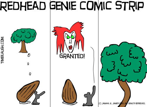 Redhead genie comic strip created by jamaal r james for james creative arts and entertainment company.