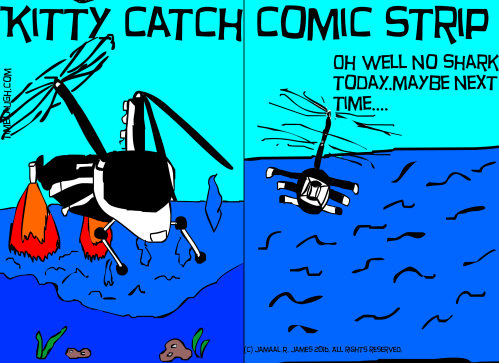 Kitty Catch Comic Strip created by Cartoonist Jamaal R. james for James Creative Arts and Entertainment company. indie comic. Kittycatchasuki heads back to her kitty lare.
