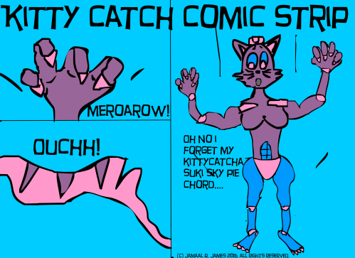 Kitty Catch Comic Strip created by Cartoonist Jamaal R. James for James Creative Arts And Entertainment Company. indie comic.