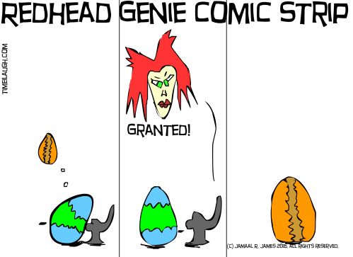 Redhead Genie Comic Strip created by Cartoonist Jamaal R. James for James Creative Arts And Entertainment Company. eggs nature