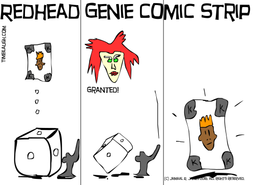Redhead Genie Comic Strip created by Cartoonist Jamaal R. James for James Creative Arts And Entertainment Company. illustrator indie comic
