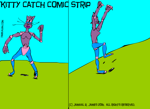 Kitty CAtch Comic Strip by Cartoonist Jamaal R. James for James Creative Arts And Entertainment Company. illustrator