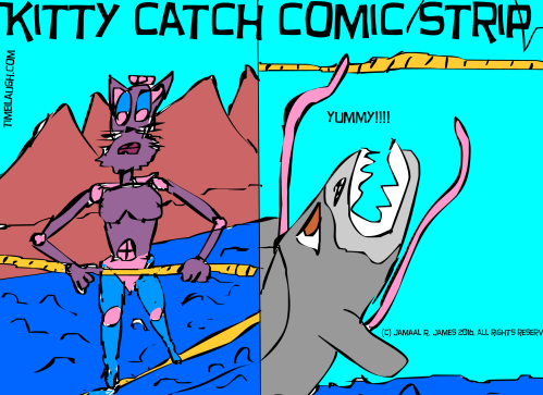 Kitty Catch Comic Strip by Cartoonist Jamaal R. James for James Creative Arts And Entertainment Company. Here our friendly kitty is walking the tight rope. illustrator Jamaal R. James