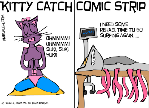 Kittycatchasuki is doing her daily yoga practice. While Sharkamorliman checks into rehab. James Creative Arts And Entertainment Company. illustrator