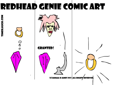 RedHead Genie Comic Art created by Cartoonist Jamaal R. james for James Creative Arts And Entertainment Company. jcaaec